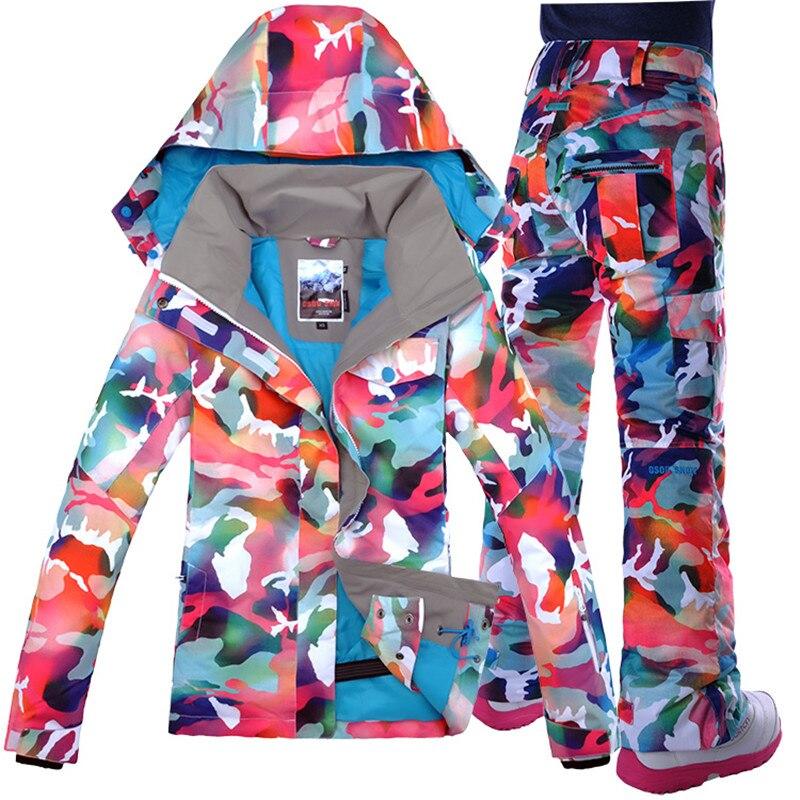 Gsou neige femmes Ski costume Snowboard veste thermique femmes Ski Snowboard costume imperméable coupe-vent Super chaud femme pantalon
