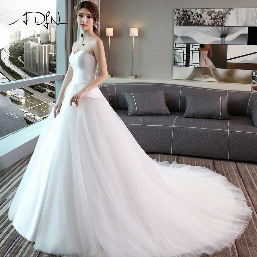 Simple Wedding Dress Divisoria: ADLN Simple Elegant Wedding Dress Satin & Tulle Sweetheart