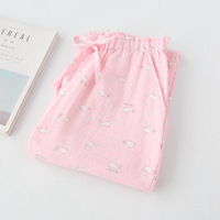 Spring 100% Cotton Women's Sleep Bottoms Striped Plaid Women Lounge Home Pants Thin Plus size Loose Drawstring Casual Trousers
