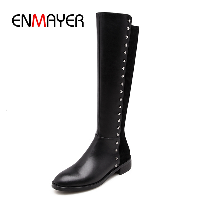 ENMAYER Round toe women boots women knee high zipper boots fashion female flat with boots Size 34-39 ZYL938ENMAYER Round toe women boots women knee high zipper boots fashion female flat with boots Size 34-39 ZYL938