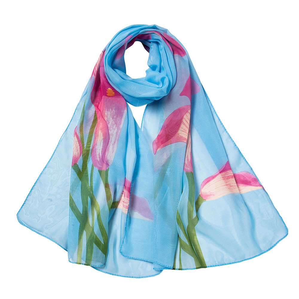 Fashion floral print scarf  women's long soft scarves ladies elegant calla summer large size wrap chiffon shawl accessories