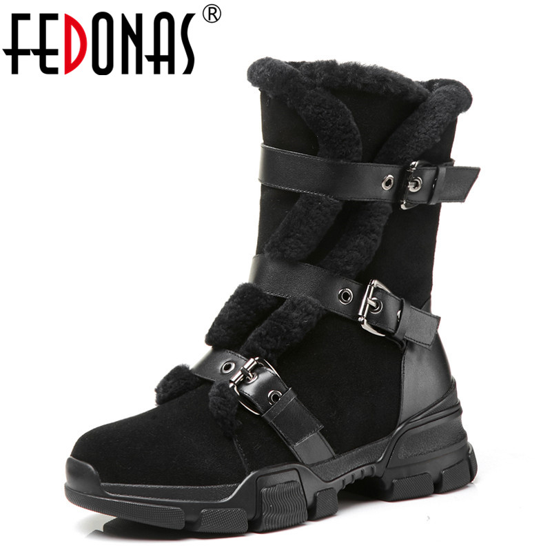 FEDONAS Women Snow Boots Classic Design Buckles Winter Warm Shoes Woman High Heels Round Toe Short Basic Boots Motorcycle Boots trendy women s boots with solid color and buckles design