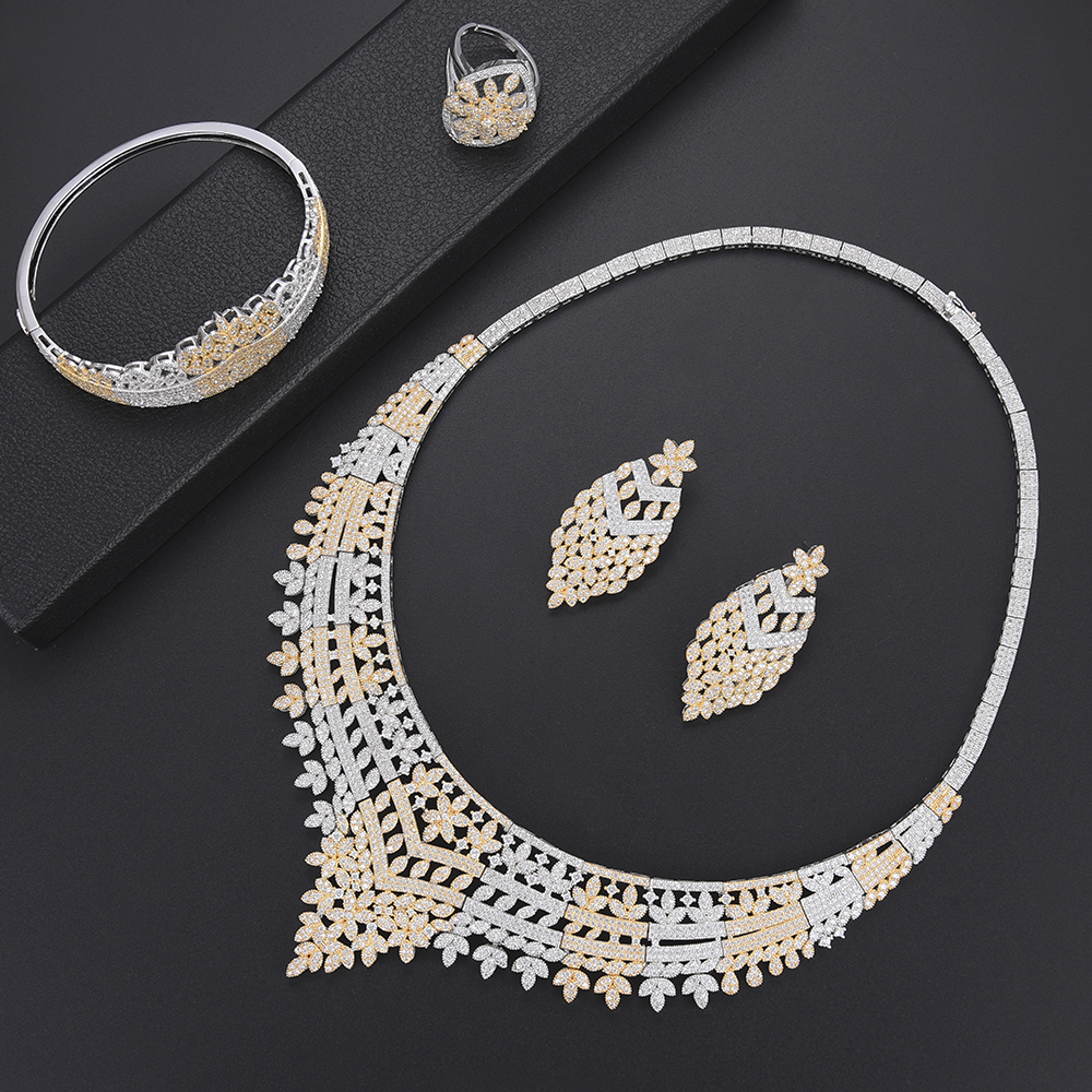 Luxury Cubic Zirconia bridal jewelry sets for women Indian nigerian Jewelry sets Necklace Earrings set Bangle Ring Jewelry Luxury Cubic Zirconia bridal jewelry sets for women Indian nigerian Jewelry sets Necklace Earrings set Bangle Ring Jewelry
