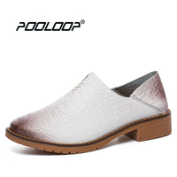 POOLOOP Classic Womens White Oxfords Genuine Leather Flats Women Fashion Dress Shoes Casual Handmade Sandals Luxury