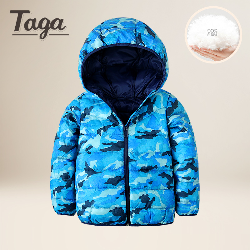 TAGA 2017 Winter Boys Down Jacket Boy Warm Light Duck Down & Parkas Children Casual Camouflage Hooded Jackets /Coats -10 degrees duck down jacket for boys 2017 russia winter warm thick down parkas children casual fur hooded jackets coats 30 degrees