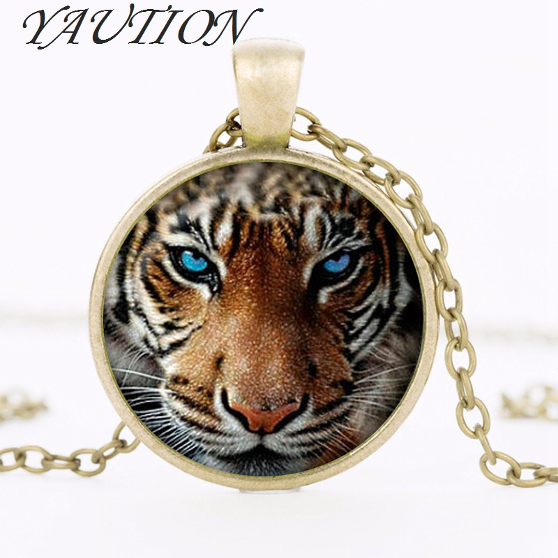 new hot Tiger Pendant Tiger Necklace Silver plated pendant Tiger Animal Jewelry Silver Chain Necklace Private custom