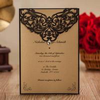 50pcs/lot Lser Cut Wedding Invitatons Rhinestone Invites Cards for Birthday Party Supply Free Printing Convite Do Casamen