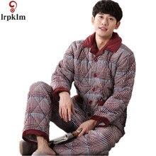 Утепленные осень-зима пижамы мужские пижамные комплекты из 100% хлопка с длинными рукавами домашняя одежда для мужчин Пижама Homme Пижама L-XXXL SY662