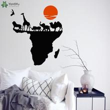 World Map of Africa Wall Decal Modern Fashion Vinyl Sticker For Kids Room Creative Wild Nature Animal Home Decor MuralSY197