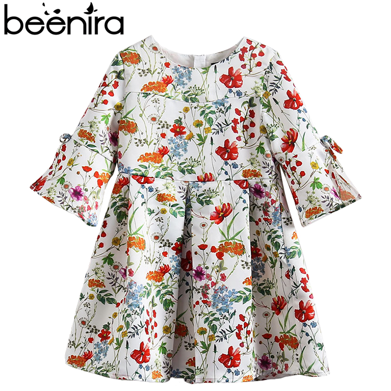 Beenira Children Spring Style 2018 New European And American Style Kids Full-Sleeve Flore Pattern Dress 4-14y Baby Girls Dress beenira girls dress 2017 new european and american style kids printed pattern long sleeve dress for 4 14y children autumn dress