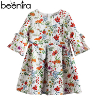 Beenira Children Spring Style 2019 New European And American Style Kids Full Sleeve Flore Pattern Dress 4 14y Baby Girls Dress
