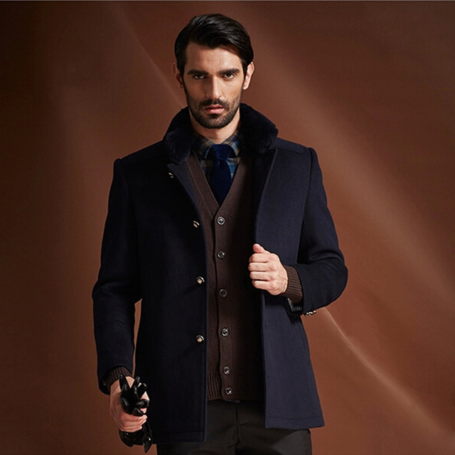 Fabulous 2014 Autumn & Winter Top brand men's Wool Coat Merino Woolen  JI84