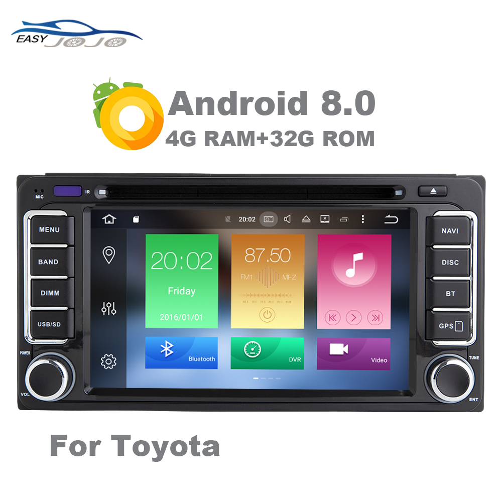 4G RAM 32G ROM Android 8.0 Car DVD GPS Multimedia Player For Toyota Auto Radio Audio Navigation Stereo 2 Din Bluetooth WIFI OBD rom 16g 2 din android car dvd for mazda cx 5 2012 2013 2014 navigation radio audio gps ipod bluetooth russian menu