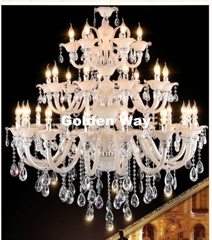 Livraison gratuite lustre moderne salon hôtel Double couche lustre K9 cristal lumières luxe lustre cristal éclairage