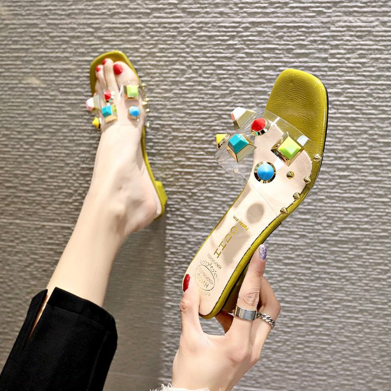 mules womens shoes pumps ladies shoes high heels Transparent sandals summer fashion colored rivets sexy slippers strappy in Women 39 s Pumps from Shoes