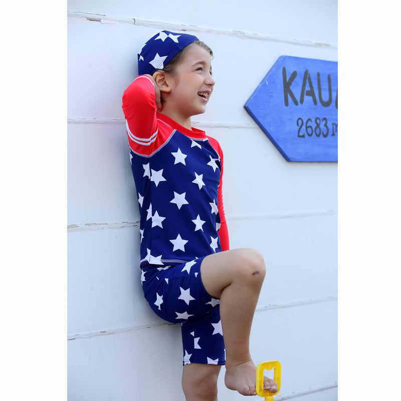 Vivo-biniya Anak Laki-laki Rash Guard Rashguard Swimsuit UV Melindungi Shirts Tops + Celana + Topi UPF 50 + Biru bintang Cetak Renang Anak-anak Setelan