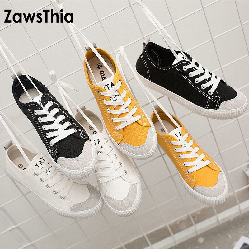 ZawsThia new arrival yellow white woman cotton canvas shoes lightweight casual flats lace up sneakers shoes for women and men simple men s casual shoes with white and lace up design page 5