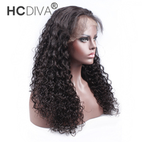 HCDIVA Lace Front Wig Deep Wave Brazilian Hair Remy Curly Wigs For Black Women Short Hair