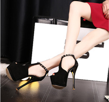 Europe and the new super high heels catwalk Fine with waterproof fish head sandals 15CM nightclub shoes hollow rivet