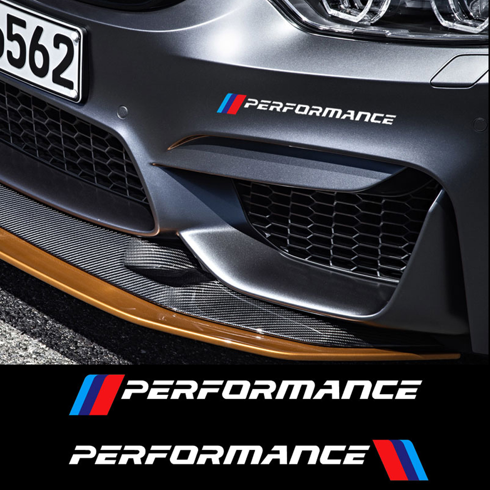 2PCS M Performance Front Bumper <font><b>Stickers</b></font> Rear Trunk Decals For <font><b>BMW</b></font> All Models F10 <font><b>F20</b></font> F30 E36 E90 E46 X3 X5 G30 image