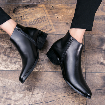 2020 Spring/Winter Mens Chelsea Boots,British Style Fashion Ankle Boots,Black Brogues Genuine Leather Casual Shoes Boots