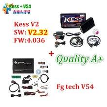 DHL Бесплатная Доставка KESS V2 V2.32 FW V4.036 OBD2 Тюнинг Комплект NoToken Ограничение Kess V2 Мастер Версия + FG TECH Galletto 4 V54