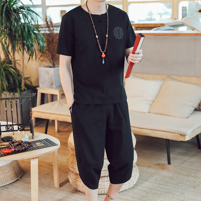 M-5XL Japsnese Streetwear Casual Tracksuit Men Short Sleeve Linen Shirt + Cropped Pants Plus Size 5XL 4XL Summer Clothes For Men
