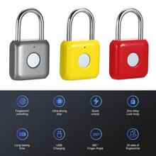 USB Charging Keyless Fingerprint Padlock Intelligent Electronic Non password Finger Touch Lock Biometric Unlock Waterproof