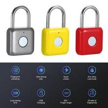 USB şarj anahtarsız parmak izi asma kilit akıllı elektronik sigara şİfre parmak dokunmatik kilit biyometrik kilidini su geçirmez