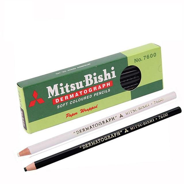 2p Lapis Dermatografico Dermograph Mitsubushi Uni Black Marker Pencil For Eyebrow Makeup Microblading Accessories Tattoo Supplie