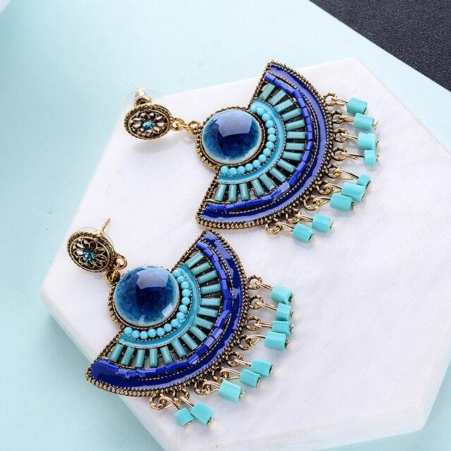 Semicircular Bohemian Beaded Drop Earrings 2