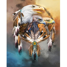 Animal Diy Round Diamond Painting Abstract Eagle Cross Stitch Embroidery Set Mosaic Home Decor 30x30cm