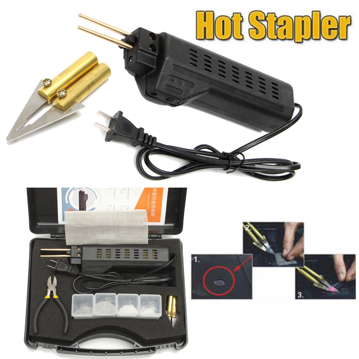 Hot Stapler Car Bumper for Fender Fairing Welder Plastic Repair Kit 200 Staples 600 precut hot stapler replacement staples st 600pc