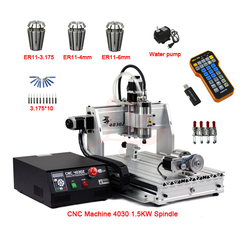 mini cnc engraving milling machine 4030 4axis 1.5KW spindle USB port ER11 cnc router 3040 with limit switch 1pc 4axis cnc router 6040z usb mach3 auto engraving machine with 1 5kw vfd spindle and usb port for hard metal 110 220v