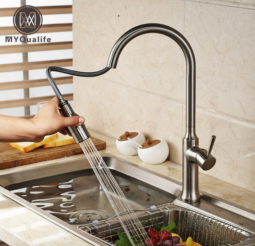Creative Pull Out Brushed Nickel Kitchen Mixer Faucet Deck Mounted Dual Sprayer Nozzle Kitchen Crane Tap with Hot and Cold Tap good quality brushed nickel kitchen faucet deck mounted hot and cold water pull out sstream sprayer spout kitchen mixer tap