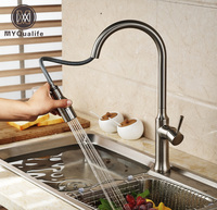 Creative Pull Out Brushed Nickel Kitchen Mixer Faucet Deck Mounted Dual Sprayer Kitchen Faucet Tap