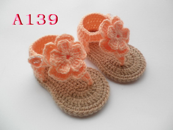 Free Shipping Handmade Baby Shoes Crocheted Baby Sandals Size 0 12