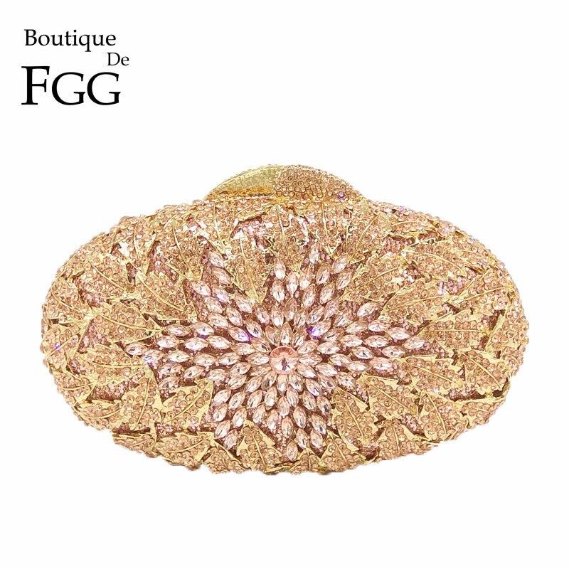 Boutique De FGG Champagne Peach Color Women Crystal Bags Evening Purse Metal Hardcase Wedding Party Minaudiere