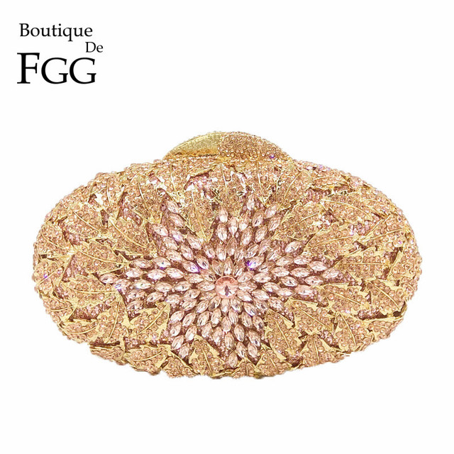 Boutique De FGG champán Color melocotón De cristal De mujeres bolsas bolso  De noche De Metal 469e863d6d54