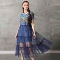 Vintage Summer Sexy Mesh Dress 2019 Women Denim Dresses Tiger Embroidery Chiffon Patchwork Vestido O neck Dress 82176