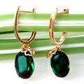 Navachi gp circón pendientes del aro de cristal oval verde smt1713