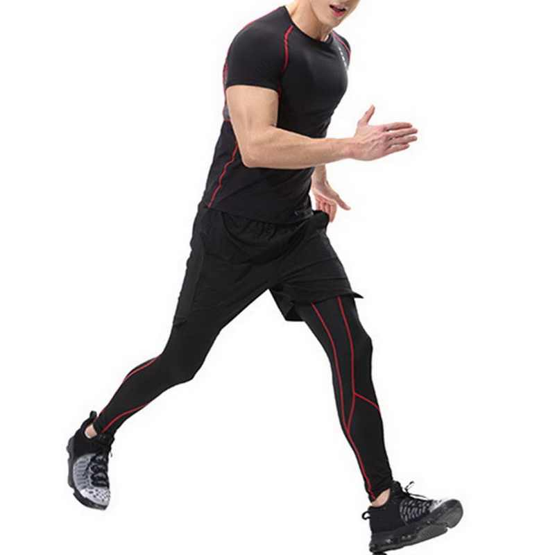 c978a34299 ... Laamei High Elastic Fitness Leggings Men Compression Bodybuilding Tights  Male Quick Dry Skinny Pant Breathable Plus ...