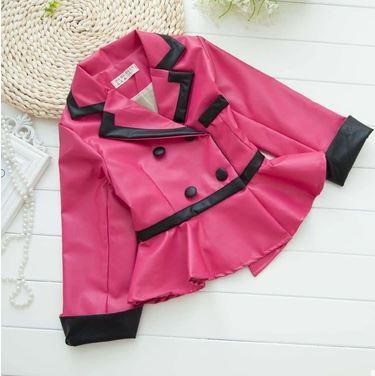new fashion kids toddler girl leather jacket pink green rose ...