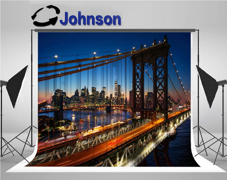 New York City skyline night sunset manhattan brooklyn bridge background Vinyl cloth Computer print party photo backdrop