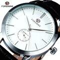 FORSINING Marca Designer Branco Dial Casual Homens Relógio Pulseira De Couro Relógios Mecânicos Automáticos de Negócios Masculino Relógio Montre Homme