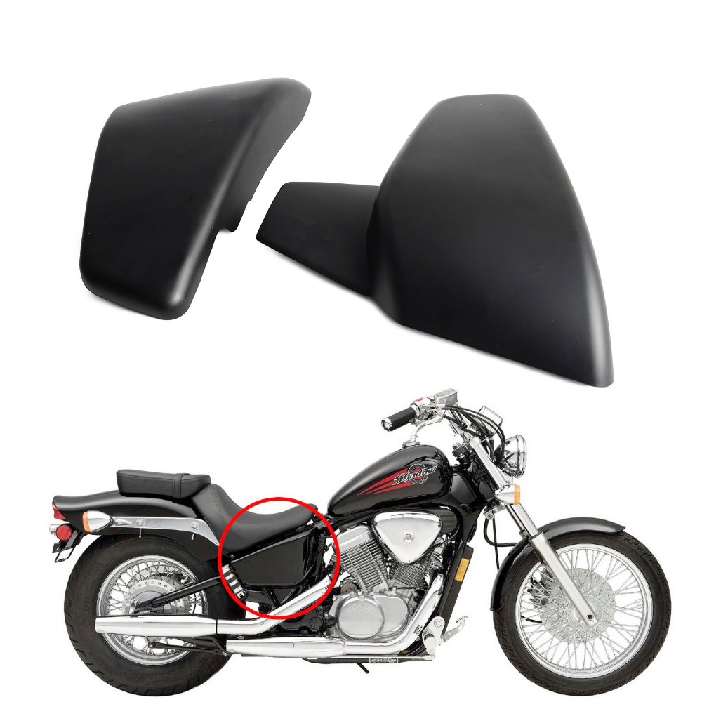 New motorcycle black battery side covers kit for honda shadow vlx deluxe vt600cd 2006 2007