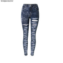 Summer Denim Jeans Female Sexy Hole Pencil Jeans Slim High Waist Ripped Denim Jeans Pants For Women Snowflake Vintage Trousers