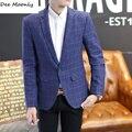 DEE MOONLY Mens algodón de la manera de Corea slim fit blazer Suit Jacket azul a cuadros de tamaño de M a 4XL Hombre blazers Mens capa de La Boda vestido
