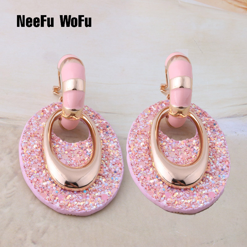 Neefu wofu brinco de couro gota grandes brincos jóias longo oval balançar mulher carreira brinco orelha oorbellen presente de natal