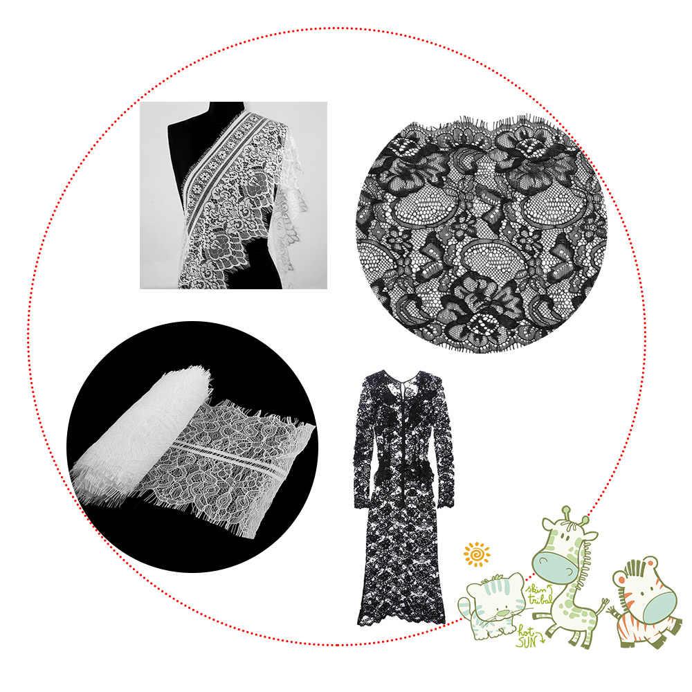 3 Yards Classic Eyelash Lace Trim Black&White Soft Floral Classic Lace Trim Decoration Crafts Sewing For Dress Making Decoration